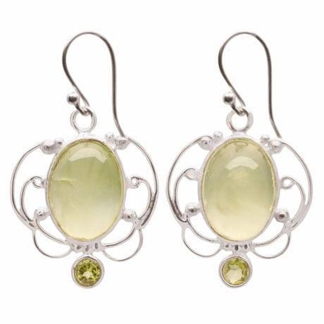 Prehnite and Peridot Sterling Earrings