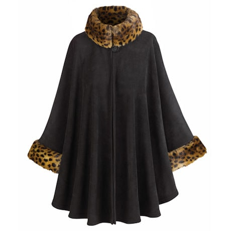 Fleece Cape With Faux Fur Trim