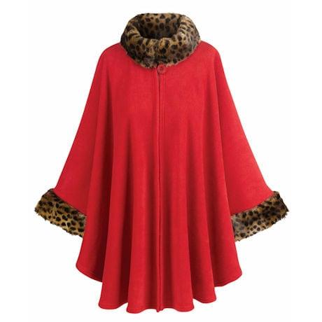 Fleece Cape With Faux Fur Trim
