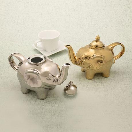 Electroplated Porcelain Elephant Teapots