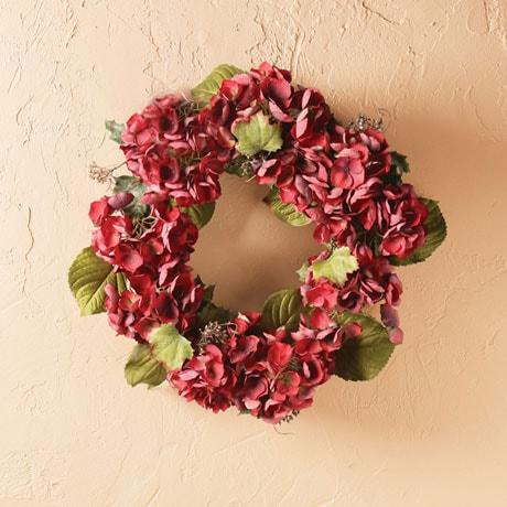 Grand Ruby-Red Hydrangea Wreath