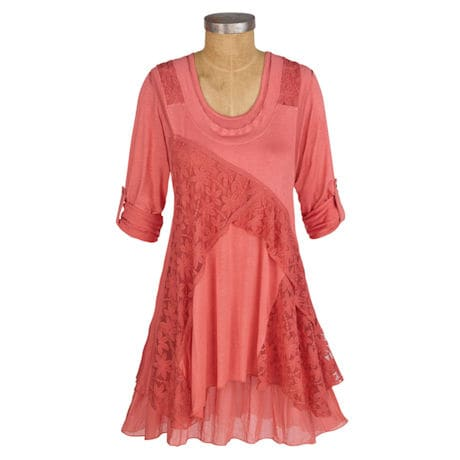 Womens 36in. Long Roll-Tab Sleeve Lace Coral Tunic- Peach - Plus Sizes