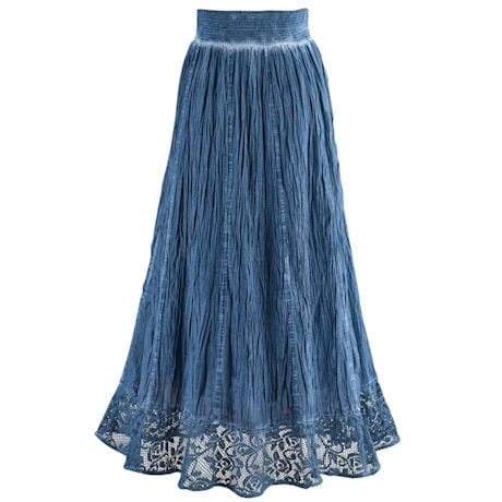 Indigo Pigment Washed Crochet Skirt