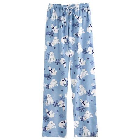 Winter Fun Flannel Bottoms - Blue Ice Polar Bear