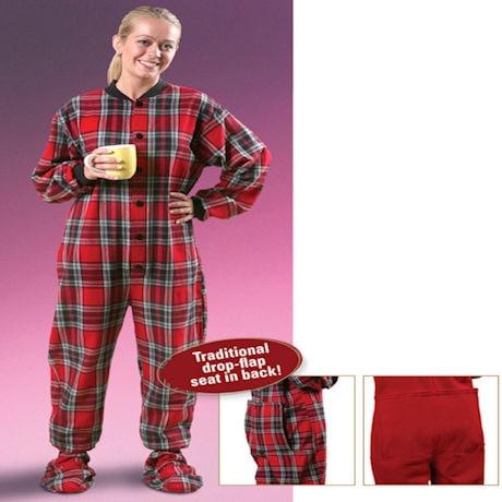 Adult Flannel Footed Pajamas - Plaid