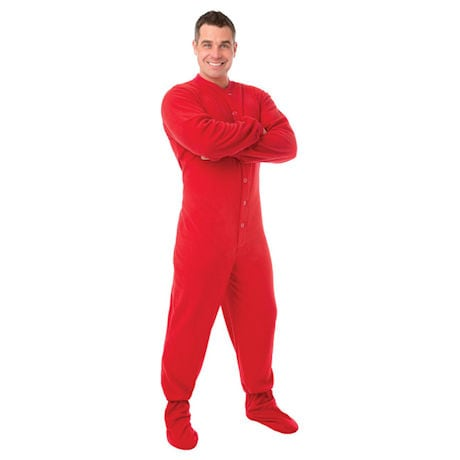 Adult Flannel Footed Pajamas - Solid Red