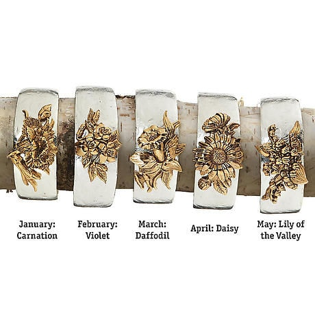 Birth Flower Cuff Bracelet