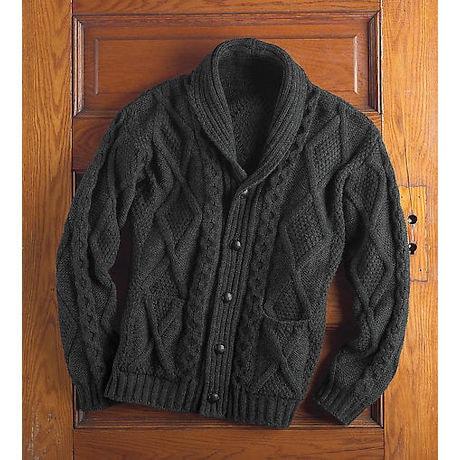 Men's Aran Cable Knit Cardigan Sweater
