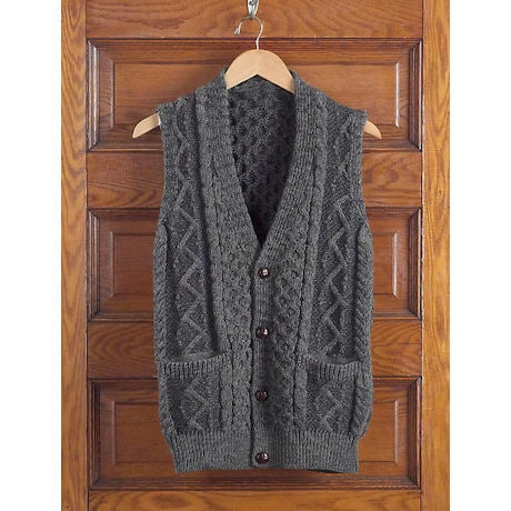 Men's Aran Waistcoat: Charcoal