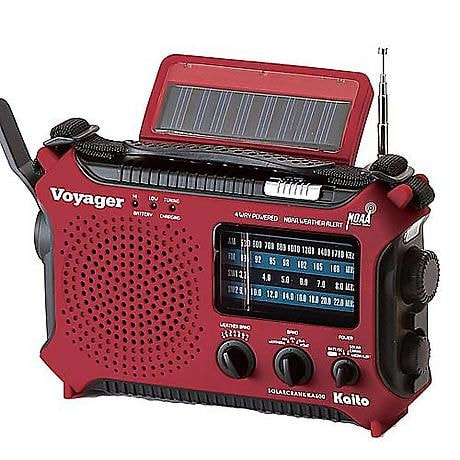 Solar-Powered Emergency Radio with NOAA Alert and Cell Phone Charger: Red