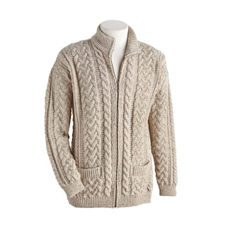 Men's Aran Zip Cardigan