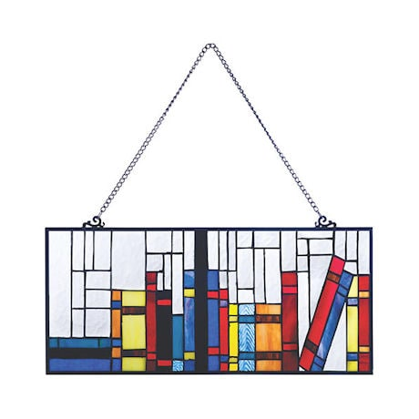 Books on a Shelf Stained Glass