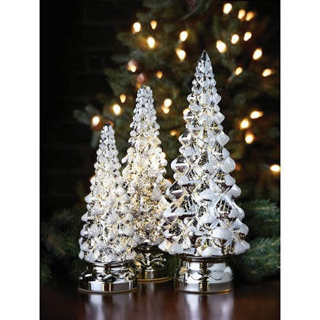 Twinkling Mercury Glass Christmas Trees