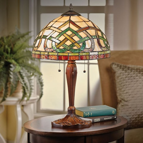 Celtic knot stained glass table lamp at acorn xa8032 celtic knot stained glass table lamp aloadofball Choice Image