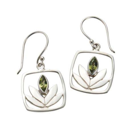 Peridot Lotus Earrings
