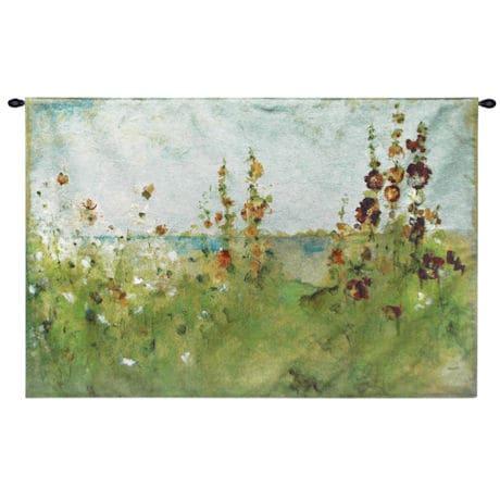 Hollyhocks by the Sea Tapestry