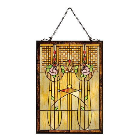 Nouveau Roses Art Glass Panel