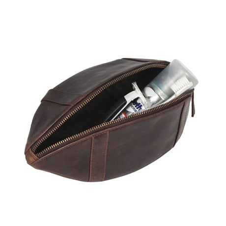 Leather Rugby Ball Wash Bag