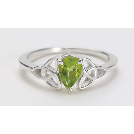 Peridot Teardrop Celtic Ring