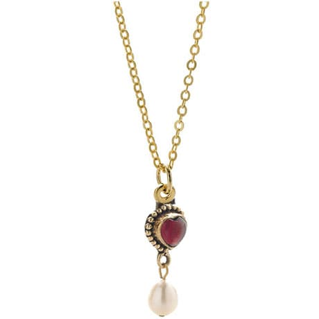 Classical Garnet Heart Necklace
