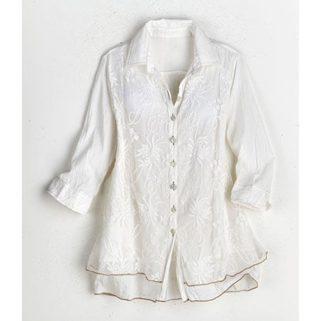Women's Lavish Lace Layered Button Down Blouse