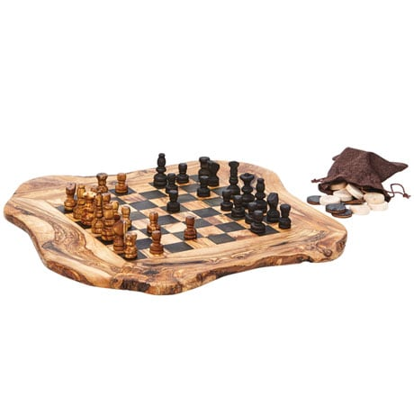 Olive Wood Chess and Checkers Set