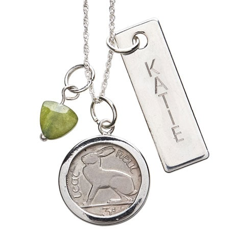 Personalized Lucky Irish 3-Pence Coin Pendant
