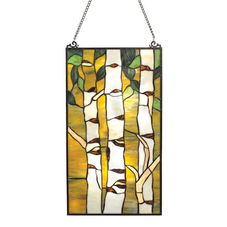 "Birches Art Glass Panel - Window Sun Catcher - 12"" x 21"""