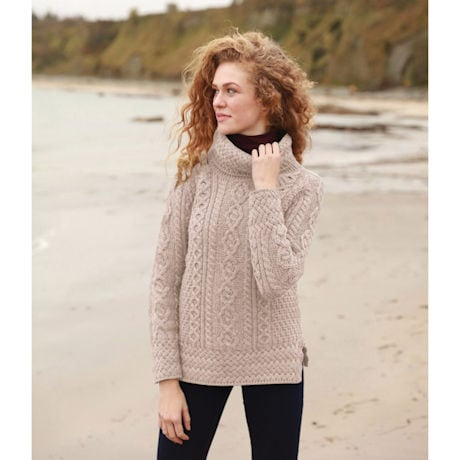 Cowl Neck Aran Tunic Sweater