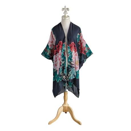 Silk Peonies Kimono Jacket