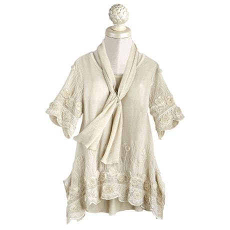 Roses Tunic and Scarf Set - 3/4 Sleeves