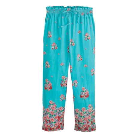 Aqua Roses Pajamas - Sleeveless Shirt & Capri Pants Set