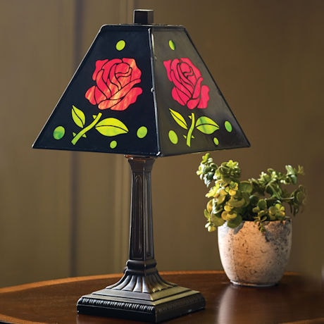 Red Roses Metal Accent Lamp