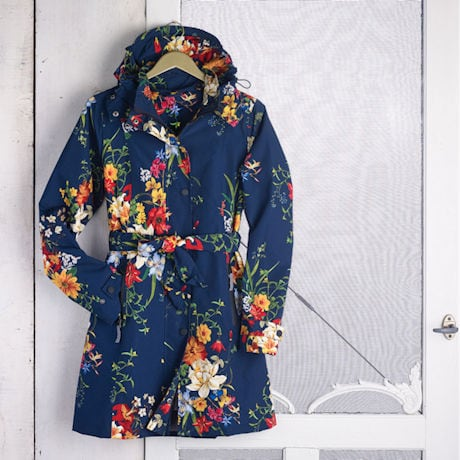 Women's Floral Rain Jacket with Detachable Hood - Belted, Zip-Front Lined Coat