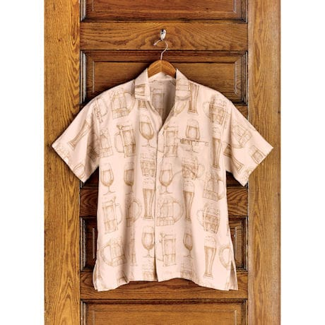 Men's Beer Print Camp Shirt