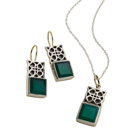 Green Onyx Celtic Earrings