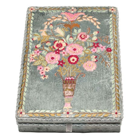 Floral Embroidered Velvet Jewelry Box - Vintage Look