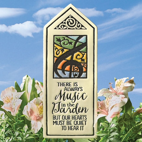 Music in the Garden Clay Plaque and Steel Stake