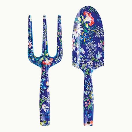 Blue Floral Garden Tools: Trowel and Hand Fork Set