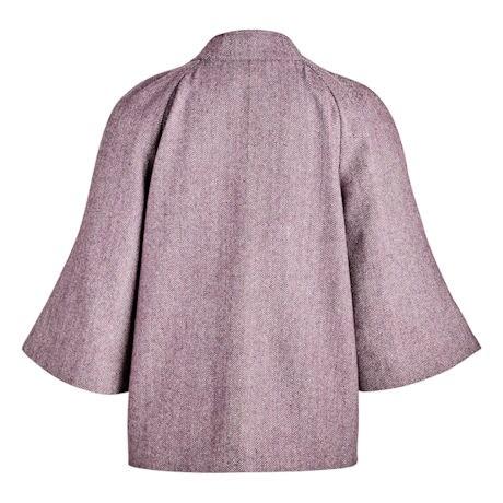 Plum Herringbone Cape Jacket