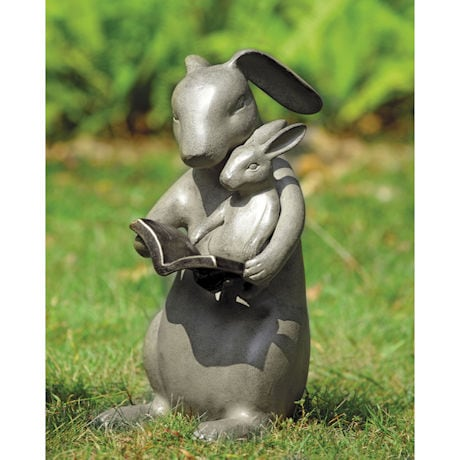 "Reading Rabbits Sharing a Story Sculpture - 14"" Cast Aluminum"