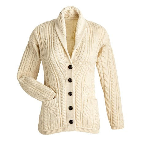 Ladies Merino Grandad Cardigan