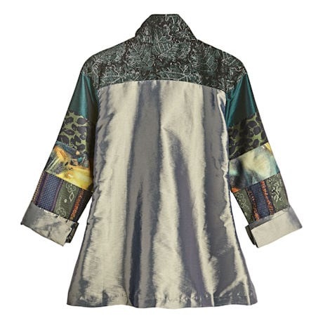 Patchwork Patterns Pleated Shimmer Jacket