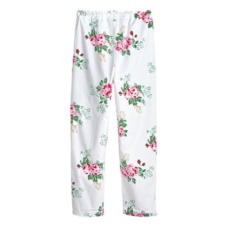 Women's Rose Print Flannel Pajama Set - Top and Lounge Pants