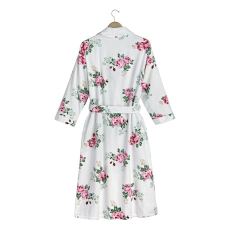 Rose Print Flannel Robe - 3/4-Length Sleeve White Floral Kimono