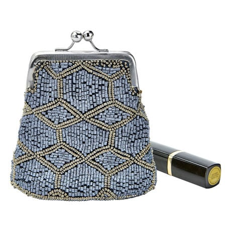 Women's Beaded Kiss Lock Clasp Bags - Decorative Coin Purses