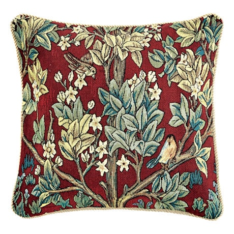 William Morris Tree of Life Pillow Cover and Insert - Red