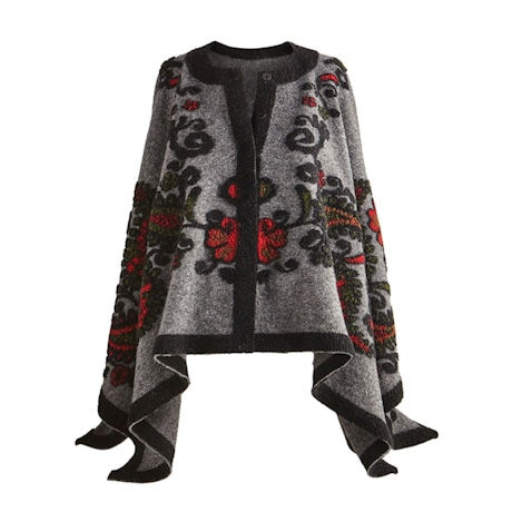 Embroidered Paisley Cape