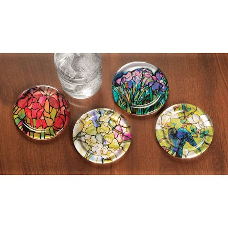 Tiffany Glass Coasters Set