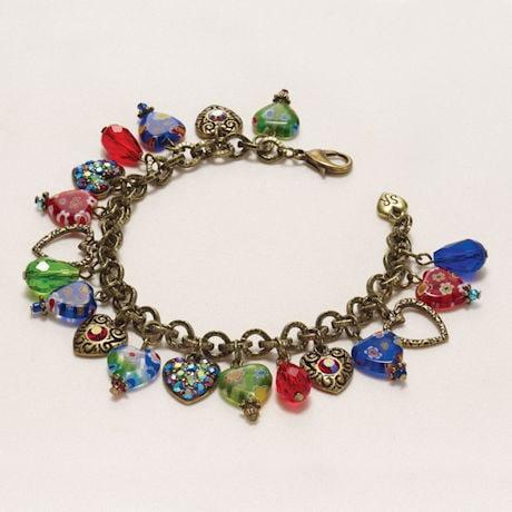 Millefiori Hearts Charm Bracelet